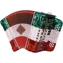 SofiaMari SMTT-3412, Two Tone Accordion Red,White,Green Sol/