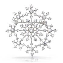 Bling Jewelry Snowflake Brooch Pin Round CZ Prong Setting