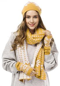 Women's Snowflake Hat Gloves and Scarf Winter Set,Yellow