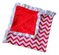 Soft and Cozy Large Minky blanket - Red Chevron with White