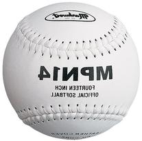 Markwort 14-Inch Softball, White, Leather cover, PU core