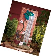 Solar Lighted Thermometer - Butterfly Design