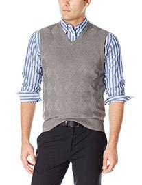 Haggar Men's Solid Acrylic Stitch Argyle Sweater Vest, Black