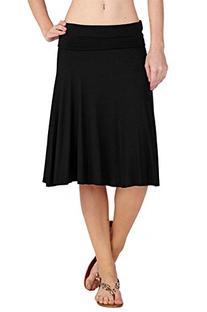 12 Ami Solid Basic Fold-Over Stretch Midi Short Skirt Black