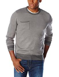 Haggar Men's Solid Crew Neck with Pocket Sweater, Medium