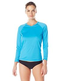 Kanu Surf Women's Solid Long Sleeve UPF 50+ Swim Shirt, Aqua