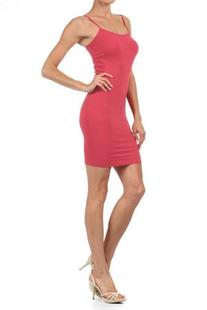 Women Solid Color Seamless Cami Dress with Spaghetti Straps