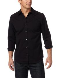 Calvin Klein Men's Solid Stretch Free Fit Woven Shirt, Black