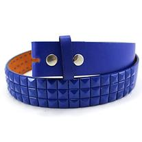 Enimay Solid Color Studded Belts With No Buckle Blue Medium