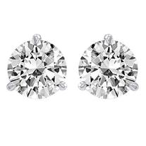 1 Carat Solitaire Diamond Stud Earrings 14K White Gold Round