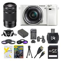 Sony Alpha a6000 White Camera with 16-50mm and Black SEL 55-