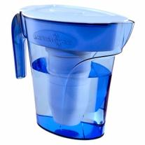 Zero Water Space Saver 6 Cup Water Filtration Pitcher, Blue