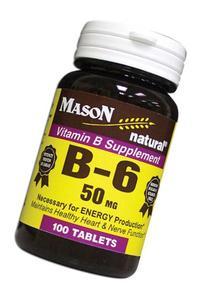 4 Pack Special of MASON NATURAL B-6 50 MG TABLETS 100 per