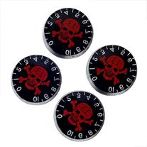 4pcs Speed Control Knobs with Skull Logo Black for Gibson