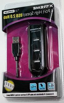 Xtreme 4 Port High Speed USB 2.0 Hub 95004 - Black