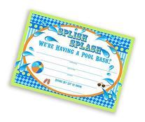 Splish Splash Pool Party LARGE Invitations Lime - 10