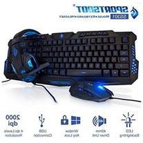 SportsBot SS301 Blue LED Gaming Over-Ear Headset Headphone,
