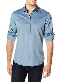Calvin Klein Men's Textured Solid Roll-Sleeve Woven Shirt,