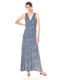 Three Dots Women's Spotted Ikat Cross Over Maxi Dress with
