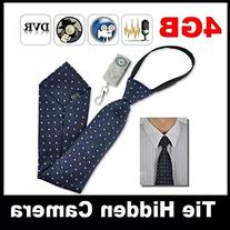 Spy Camera Tie with Wireless Audio Recorder with Remote