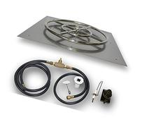 Square Stainless Steel Flat Pan Gas Fire Pit Kit with Spark