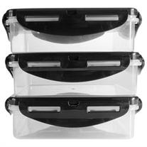 6 Pack Fitness 16 oz. Square Sure Seal Containers 3-Pack - Clear/Black