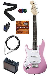 Squier by Fender Mini Strat Electric Guitar Bundle with Amp, Cable, Tuner, Strap, Winder, Picks, Austin Bazaar Instructional DVD, and Polishing Cloth