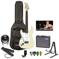 Silvertone SS15-WHT-KIT-6 White Electric Guitar with Tuner,