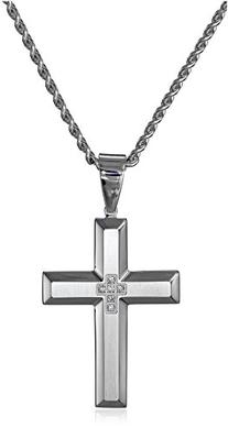Men's Stainless Steel Cross Pendant Necklace , 24