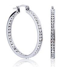 Jstyle Stainless Steel Womens Hoop Earrings Cubic Zirconia