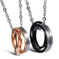 "Opk Jewelry Stainless Steel Macthing Couple Necklaces ""I"