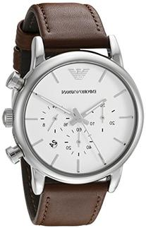 Emporio Armani Mens Stainless Steel Round Watch with Leather