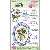 JustRite Stampers Clear Stamp Set, Easter Blessings Oval