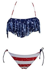 Dear-Lover Women's The Stars and The Stripes Bikini with