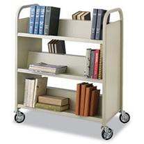 ** Steel Slant Shelf Book Cart, Six Shelves, 36w x 18-1/2d x