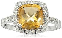 Sterling Silver Cushion Citrine Diamond Ring , Size 7