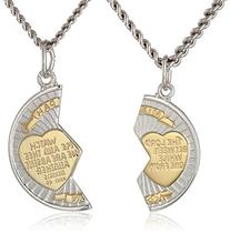 Sterling Silver Mizpah Medal Necklace with Stainless Steel