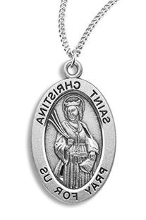 Women's Sterling Silver Oval Saint Christina Pendant + 18