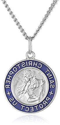 Sterling Silver Round Saint Christopher Medal Pendant