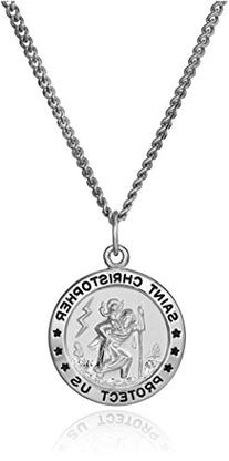Sterling Silver Round Saint Christopher Medal with Stainless