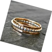 Sterling Silver Stacking Ring, Silver and 14 Karat Gold Fill