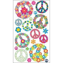 Sticko 58 Stickers-Floral Peace Signs