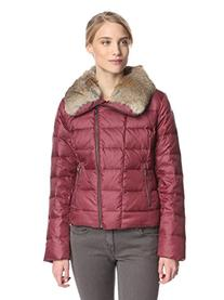 Tumi Stockholm Down Burgundy Jacket Real Rabbit Fur Collar