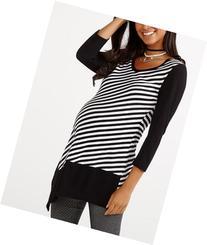 Stork & Babe - Striped Asymmetric Maternity Tunic