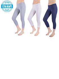 Sexy Basics Womens 3 Pack Stretch Cotton Capri Lace Legging