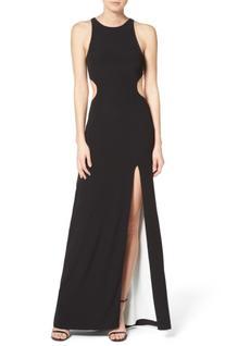 Women's Halston Heritage Stretch Gown, Size 12 - Black