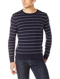 Nautica Men's Stripe Crew Neck Sweater, Navy, Small
