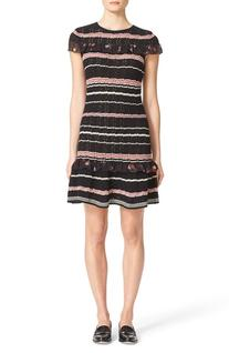 Women's Red Valentino Stripe Crotchet Cotton Dress, Size X-
