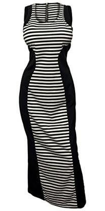 eVogues Women's Stripe Maxi Stretch Dress Black