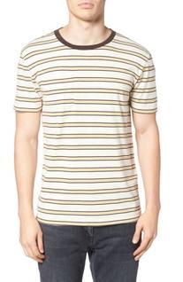 Men's Brixton Stripe Pocket T-Shirt, Size X-Large - Beige